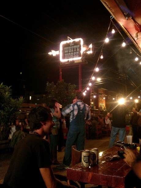 Hanging out at The White Horse, Austin after a three-day conference in Houston. (Love those overalls! Are those Oshkosh?)