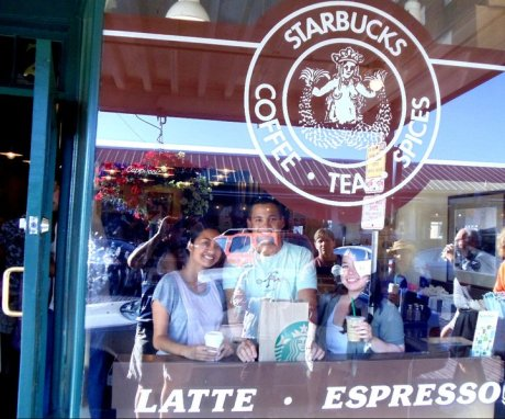 A few friends and I stop into the original Starbucks in Seattle during a Pacific Northwest road trip.
