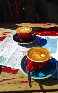 Flat whites at Fidel's Cafe in Wellington.